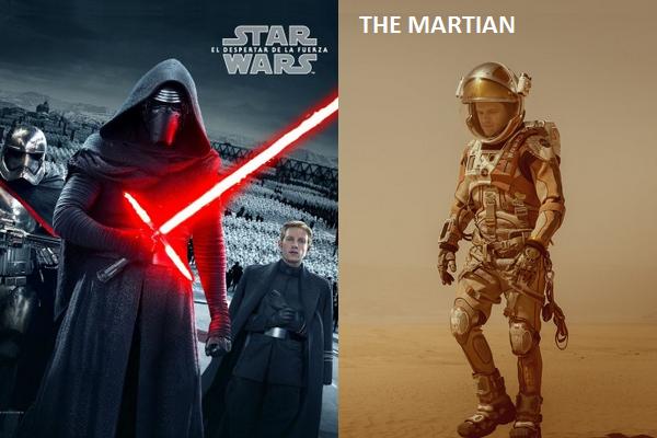 star wars the force awakens, crimson peak, the good dinosaur, the hateful eight, the martian
